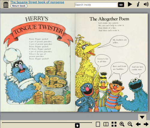 sesame street book of nonsense in the bookreader