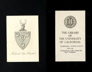 bookplate of Frederick Law Olmstead Jr.