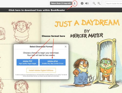 screen shot showing onscreen areas to download and return books