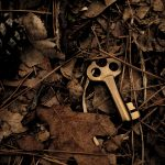 An old brass key dropped on the ground in the woods.